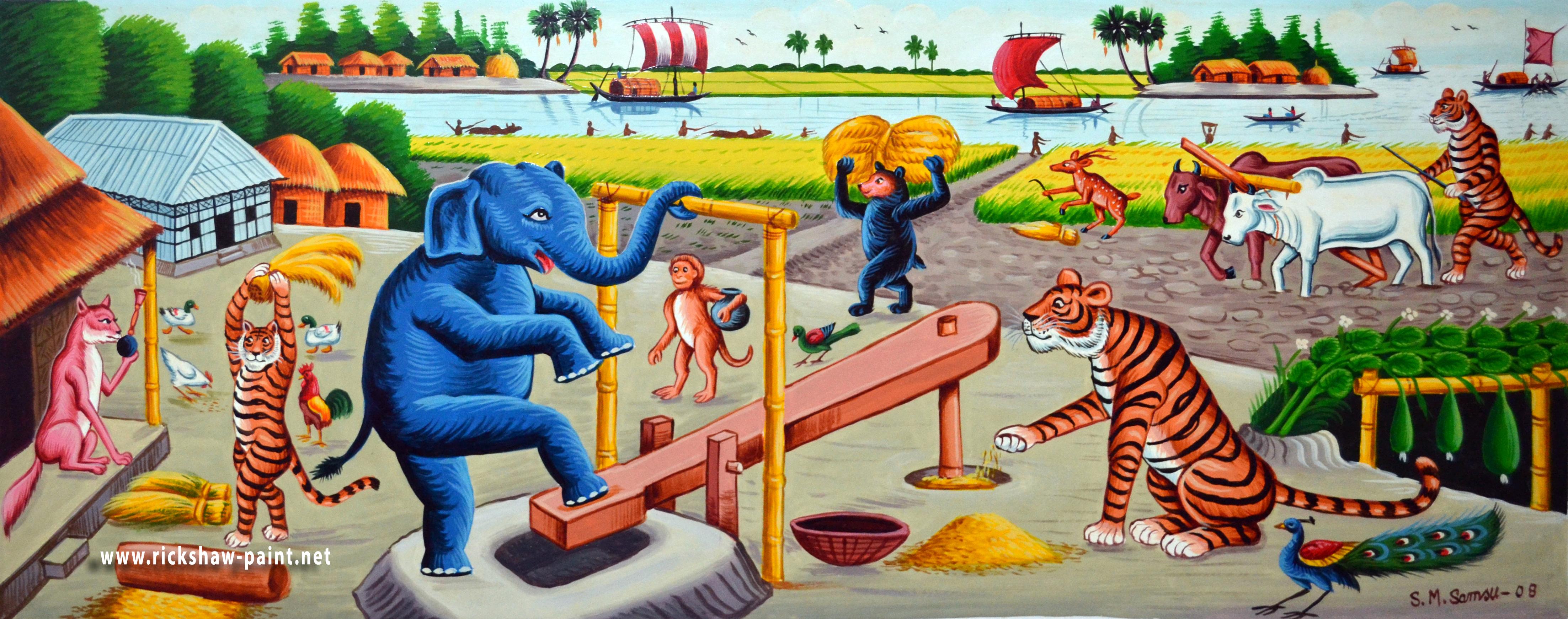 funny village   rickshaw art